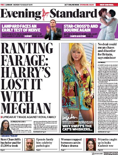 London Evening Standard Newspaper Front Page (UK) for 13 August 2019