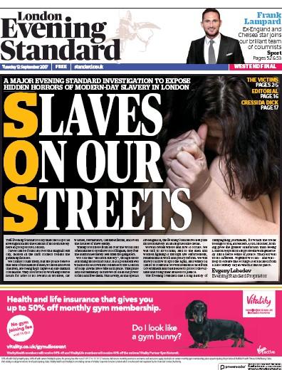 London Evening Standard Newspaper Front Page (UK) for 13 September 2017