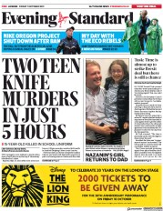 London Evening Standard () Newspaper Front Page for 14 October 2019