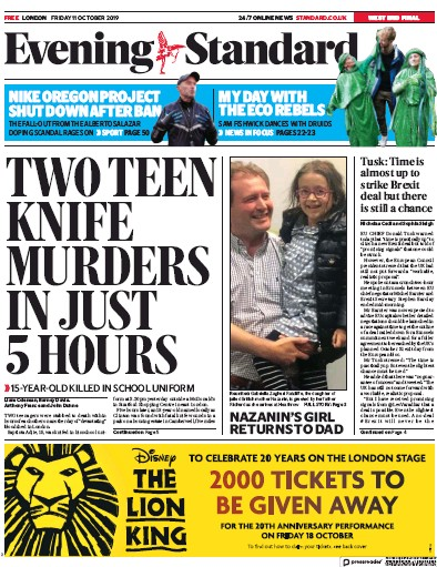 London Evening Standard Newspaper Front Page (UK) for 14 October 2019
