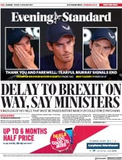 London Evening Standard (UK) Newspaper Front Page for 14 January 2019