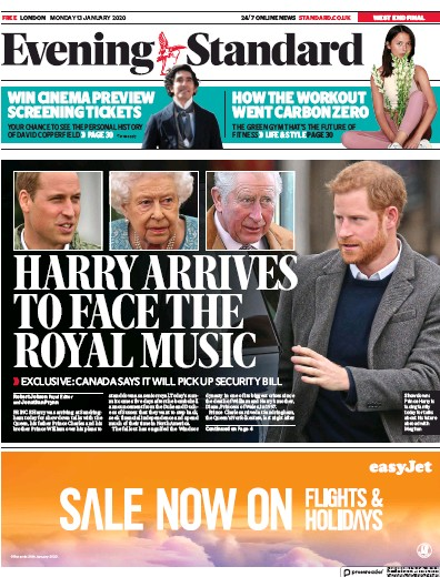 London Evening Standard Newspaper Front Page (UK) for 14 January 2020