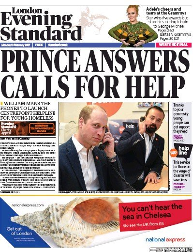 London Evening Standard Newspaper Front Page (UK) for 14 February 2017