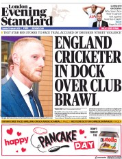 London Evening Standard (UK) Newspaper Front Page for 14 February 2018