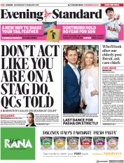 London Evening Standard (UK) Newspaper Front Page for 14 February 2019