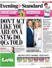 London Evening Standard () Newspaper Front Page for 14 February 2019
