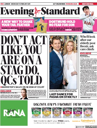 London Evening Standard Newspaper Front Page (UK) for 14 February 2019