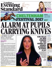 London Evening Standard (UK) Newspaper Front Page for 14 March 2017