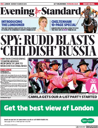 London Evening Standard Newspaper Front Page (UK) for 14 March 2018