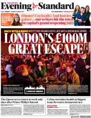 London Evening Standard front page for 14 April 2021