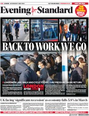 London Evening Standard front page for 14 May 2020