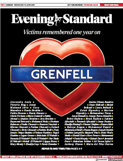 London Evening Standard Newspaper Front Page (UK) for 14 June 2018