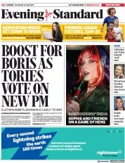London Evening Standard (UK) Newspaper Front Page for 14 June 2019