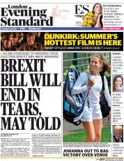 London Evening Standard (UK) Newspaper Front Page for 14 July 2017