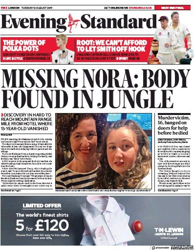 London Evening Standard Newspaper Front Page (UK) for 14 August 2019