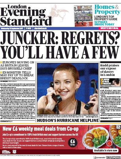 London Evening Standard Newspaper Front Page (UK) for 14 September 2017