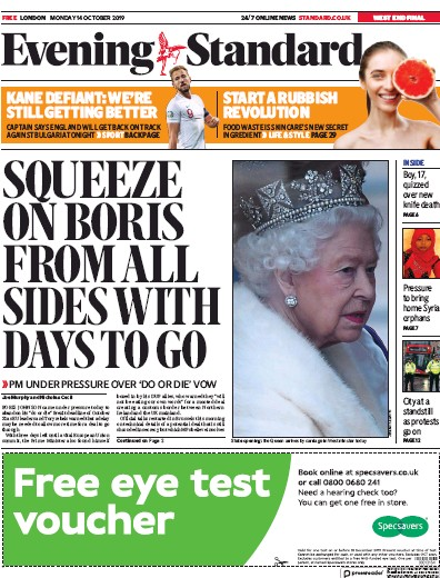 London Evening Standard Newspaper Front Page (UK) for 15 October 2019