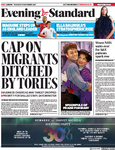 London Evening Standard Newspaper Front Page (UK) for 15 November 2019