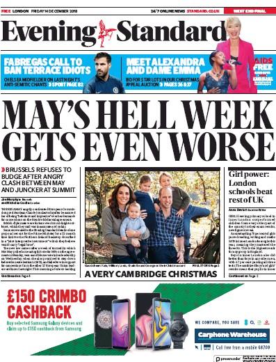 London Evening Standard Newspaper Front Page (UK) for 15 December 2018