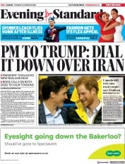 London Evening Standard (UK) Newspaper Front Page for 15 January 2020