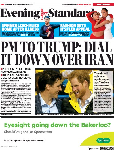 London Evening Standard Newspaper Front Page (UK) for 15 January 2020