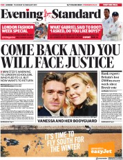 London Evening Standard () Newspaper Front Page for 15 February 2019