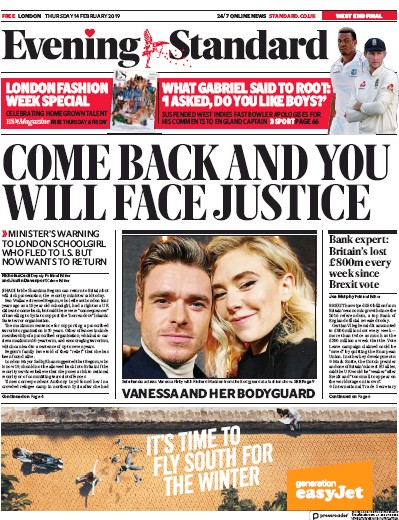London Evening Standard Newspaper Front Page (UK) for 15 February 2019