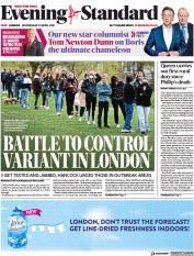 London Evening Standard front page for 15 April 2021