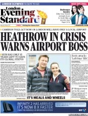 London Evening Standard () Newspaper Front Page for 15 May 2012