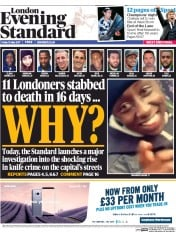 London Evening Standard (UK) Newspaper Front Page for 15 May 2017
