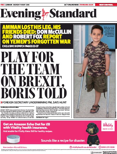 London Evening Standard Newspaper Front Page (UK) for 15 May 2018