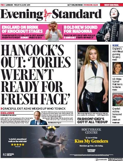 London Evening Standard Newspaper Front Page (UK) for 15 June 2019
