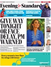 London Evening Standard () Newspaper Front Page for 16 October 2019