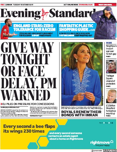 London Evening Standard Newspaper Front Page (UK) for 16 October 2019