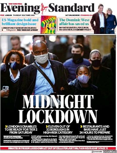 London Evening Standard Newspaper Front Page (UK) for 16 October 2020