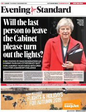 London Evening Standard (UK) Newspaper Front Page for 16 November 2018