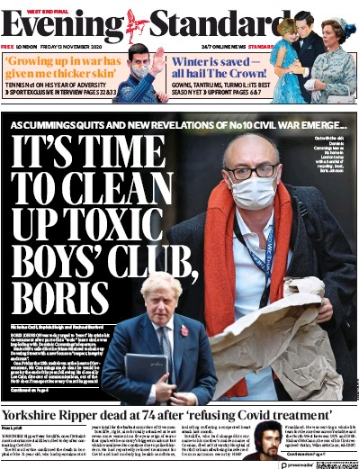London Evening Standard Newspaper Front Page (UK) for 16 November 2020