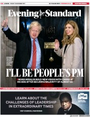 London Evening Standard () Newspaper Front Page for 16 December 2019