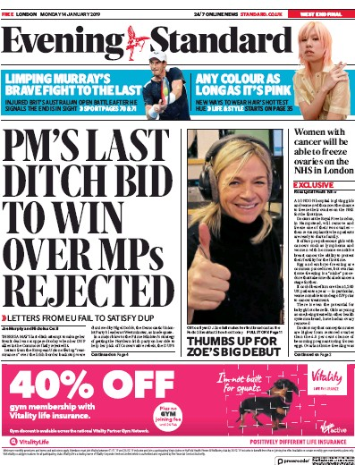 London Evening Standard Newspaper Front Page (UK) for 16 January 2019