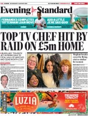 London Evening Standard (UK) Newspaper Front Page for 16 January 2020