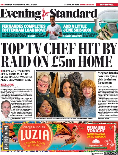 London Evening Standard Newspaper Front Page (UK) for 16 January 2020