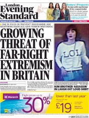 London Evening Standard (UK) Newspaper Front Page for 16 February 2017