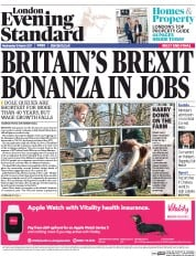 London Evening Standard (UK) Newspaper Front Page for 16 March 2017