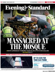 London Evening Standard () Newspaper Front Page for 16 March 2019