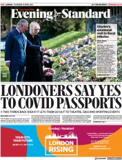 London Evening Standard () Newspaper Front Page for 16 April 2021