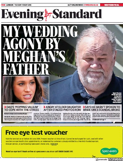 London Evening Standard Newspaper Front Page (UK) for 16 May 2018