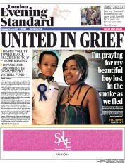 London Evening Standard (UK) Newspaper Front Page for 16 June 2017