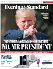 London Evening Standard (UK) Newspaper Front Page for 16 July 2018