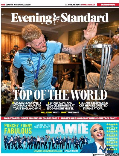 London Evening Standard Newspaper Front Page (UK) for 16 July 2019