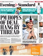 London Evening Standard (UK) Newspaper Front Page for 17 October 2019